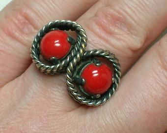 Vintage Ring, Mod era, Red Stones, West Germany, Adjustable 1960s
