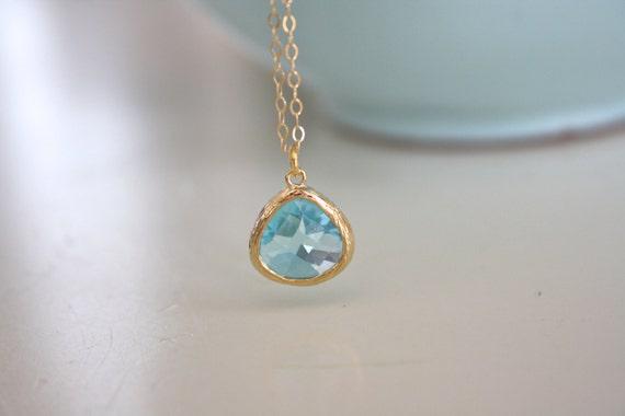 Gold Necklace, Aqua Necklace, Aqua Gold, Bridesmaid Necklace, Dainty Gold Necklace, Birthday gift Bridesmaid Gifts, March Birthstone