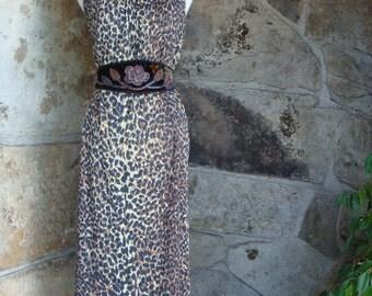 70s LEOPARD NIGHTGOWN DRESS vintage maxi slip high side slits m