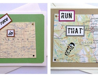 Colorado - Run (or RAN) That State Handmade Running Greeting Card - for Marathon, Half-Marathon, 10K, 5K Runners