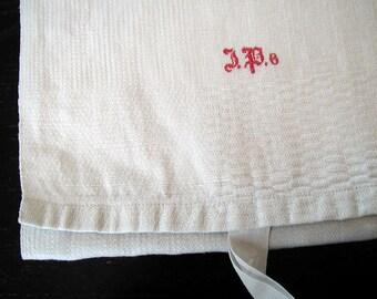 Antique French Homespun Kitchen Towel 1800's Hanging Loop Monogram JP Sturdy 45 inch