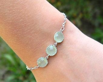Wedding Jewelry- Bridesmaid Bracelet -Mint Green Jewelry - Mint Green Bracelets - Personalized Bracelet - Sterling Silver- Layering Bracelet