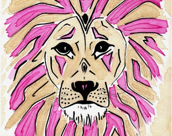 Lion 3 Art Print on Cardstock