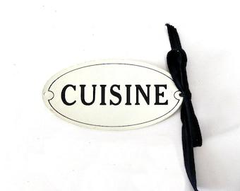 French Vintage enamel cuisine plaque