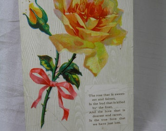 Yellow Rose Vintage Postcard  - Poem A Rose That is Sweetest and Fairest Sentiment