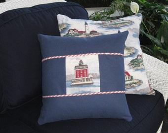Nautical Pillow Lighthouse Pillow Navy with Red White Stripe Pillow Cover // Nautical Decor // Nautical Home Decor // Coastal Decor