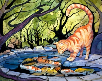 Orion's Pond, Orange Kitty & Pond Pals, Signed Open Edition