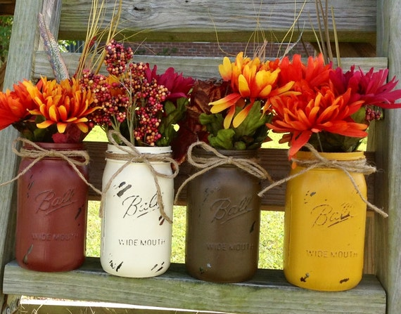 Items similar to fall home decor fall mason jars painted for Thanksgiving 2016 home decorations