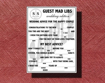 Monogramed Wedding Mad Libs A Fun Guest Book Alternative Wedding Ad Libs