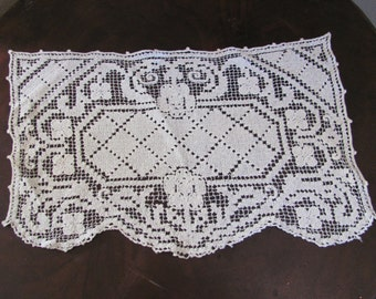 "Doily Lovely Antique Rectangle Ivory Crocheted Doily 15"" x 10"""