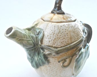 Vintage Pumpkin Teapot Squash Pottery Green Leaf Brown Leaves Ceramic Pot Vine Bas Relief Serving Carved Etched Engraved Sculpture Figurine