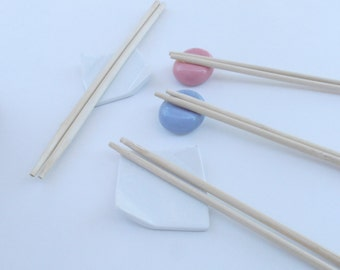 Vintage Japanese Chopstick Rest Holder White Ceramic Miniature Plate Mini Hashioki Pink Blue Bean White Floral Square Pottery Kawaii Japan