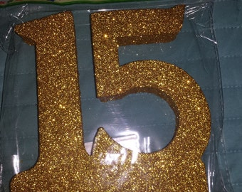 STYROFOAM glittered    numbers 15  fifteen  craft. cake topper centerpiece anniversary Birthday quince.