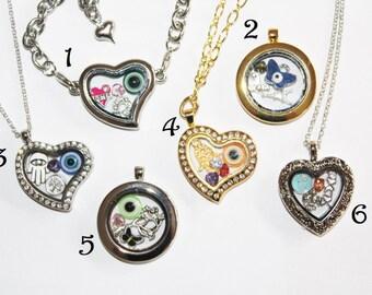 Floating locket + 4 CHARMS, memory locket, glass locket, locket necklace, personalized locket, Personalized Memory Locket