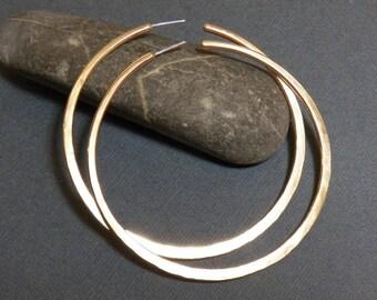 BRASS Hoops - Handcrafted Hoops - Sterling Silver Post Hoops
