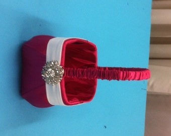 Hot Pink with White Accent Rhinestone Flower Girl Basket