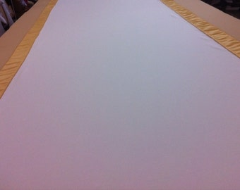 Custom Made Aisle Runner Two Colors White Gabardine and Gold Satin Accents 50 feet Long