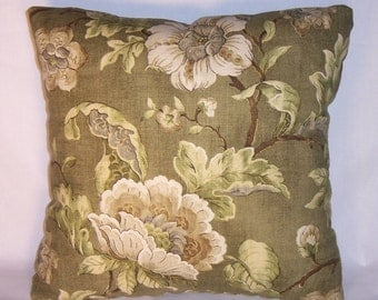 "Avocado Green Floral Throw Pillow with Gold Accents 17"" Square Cotton Ready to Ship Cover and Insert"