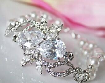 Vintage Style Swarovski Crystal Bridal Bracelet, Crystal Wedding Bracelet, Victorian Style Bridal Bracelet, Crystal Pearl Bracelet
