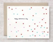 Simple Valentine Card - Anniversary Card, Confetti Hearts, Red, Pink, Pastel Teal Green - Recycled Card, Happy Anniversary
