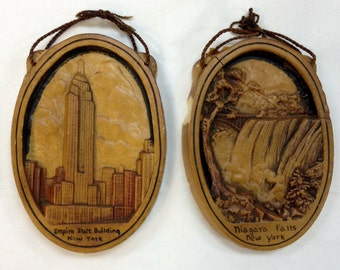 Vintage 1930s Chalkware Set Empire State Building and Niagara Falls 3D Relief Art Deco