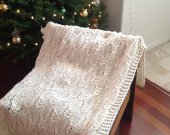 Ready-Made Knit Afghan---PEACEFUL in CREAM