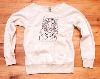 i'm totally serious Tiger Sweater, Off shoulder Top, Yoga Pullover, White Sweater, S,M,L,XL
