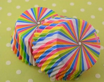 Rainbow Swirl Cupcake Liners / Papers/ Cupcake cups /