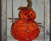 folk art velvet pumpkin man acorns twig arms HAGUILD HAFAIR OFG Halloween decoration