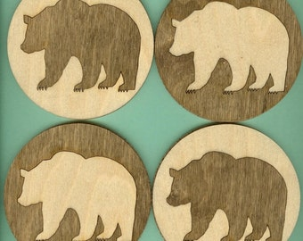 Wood Coasters Bear (4) - Laser Cut Inlaid (CI-204)