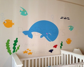 Nursery Whale Decal Fish Stickers Ocean Baby Wall Decors Kids Wall Decals - Ocean World -Playroom Kids Children Love by Popdecors
