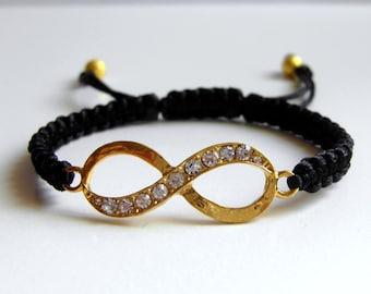 INFINITY Bracelet, Golden Eternity Sign, Dazzling Crystal, Macrame Bracelet, Adjustable Bracelet, Harmony Bracelet