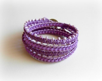 Lavender 4 x Leather Wrap Bracelet, Bollywood Macrame Bracelet, Adjustable, Elephant button