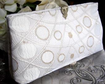 White and Gold Lace Bridal Clutch / Art Deco Gatsby Wedding / Gold Wedding Dress Accessory
