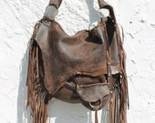 Large tribal leather raw edges brown distressed hobo gypsy larp elvish bohemian fringed bag fringe tote large brown rusted hobo tribal