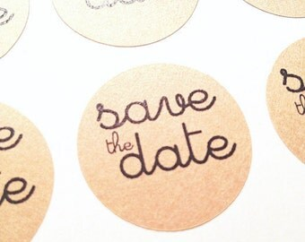 60  SAVE THE DATE- Kraft round labels/seals - wedding seals