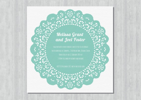 Printable Wedding Invitation - Doily