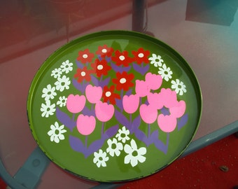 Vintage 1960's Hippie Serving Bar Maid Tray with Colorful Painted Flowers