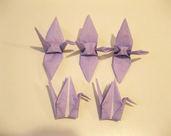 "100 3"" Light Purple Lavender origami cranes paper cranes wedding party decoration single color"