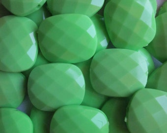 Lime Green Opaque Acrylic Rectangle Beads 20mm 20 Beads
