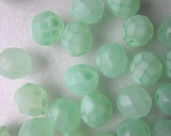 Mint Green Czech Fire Polished Glass Beads 8mm 18 Beads
