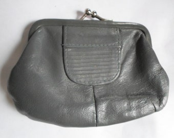 Vintage Robert Gimbel 1960s to 1980s Change/Coin Purse Gray Leather Kiss Lock