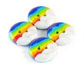 Polymer clay buttons rainbow connection set of four