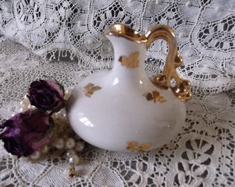 Vintage petite pitcher, white with gold detail, Romantic French country accent