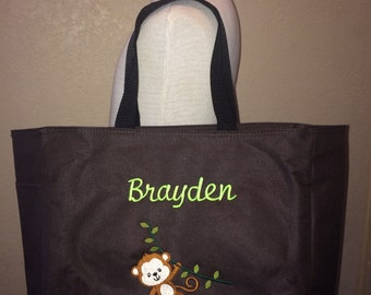 Embroidered Personalized Baby Monkey on Vine Tote Diaper Bag