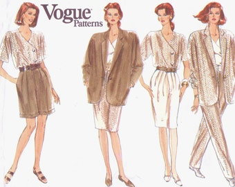 1990s Womens Unlined Jacket, Top, Tapered Skirt, Office Shorts & Pants Vogue Sewing Pattern 2464 Size 20 22 24 Bust 42 44 46 UnCut