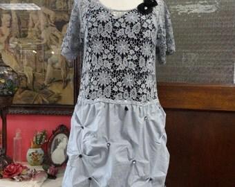 Hand Dyed Dress, Bohemian Dress,Upcycled Dress, Lace Dress, Bubble Dress,Romantic Dress,Shabby Chic Dress, OOAK Dress