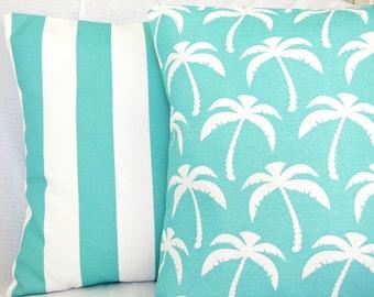 Aqua OUTDOOR Coastal Decorative Throw Pillows Nautical Aqua White Stripe Palms Cushion Covers Beach Decor 18 Inch Two Pillow for Couch Sofa