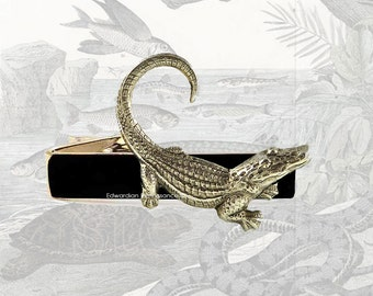 Tie Clip Alligator Inlaid in Hand Painted Black Enamel Crocodile Reptile Tieclip Neck Tie Bar Accent Custom Colors Available