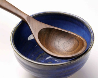 Wooden spoon kitchen utensil small handmade for serving salsas and sauces of Walnut wood